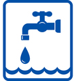 icon with tap and water wave vector image