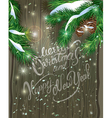 Old Wooden Christmas background vector image