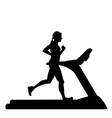 Silhouette of woman running on treadmill vector image