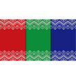 three knitted christmas backgrounds set three vector image