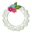 vintage round frame with flowers vector image
