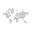 world map silhouette with abstract dots pattern vector image