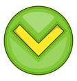 Green tick check mark icon cartoon style vector image
