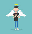 young character wearing angel costume nimbus and vector image