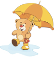 A bear cub and an umbrella vector image vector image