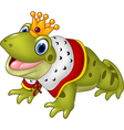 Cute frog king isolated on white background vector image vector image