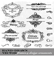 Hand Drawn Frame and Ornament Set vector image vector image