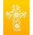 White floral Christianity cross on yellow vector image