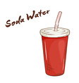 an isolated cartoon hand drawn fast food Soda vector image