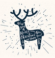 christmas deer silhouette with lettering vector image