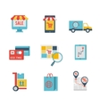 e-commerce symbols and internet shopping elements vector image