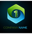 Number one logo symbol in the colorful hexagonal vector image