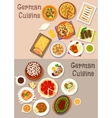 German cuisine meat dishes with dessert icon set vector image