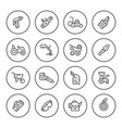 set round line icons of garden equipment vector image