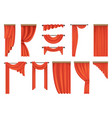 set of theatre red curtains vector image