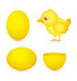 easter day golden chicken baby cartoon character w vector image