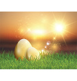 Golden Easter eggs in grass vector image vector image