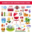 Set of flat design barbecue and summer picnic vector image