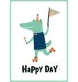 card with funny Crocodile boy vector image