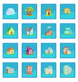 houses icon blue app vector image