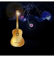 Night landscape with lightning and guitar vector image