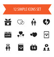 set of 12 editable love icons includes symbols vector image