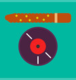 vinyl record and brown stick vector image