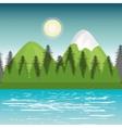 landscape mountain green river design vector image