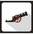 Ancient cannon icon flat style vector image