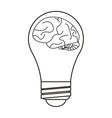 brain idea bulb concept outline vector image