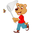 funny teddy bear catching a bee vector image