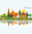 Seville skyline with color buildings blue sky and vector image