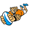 rugby leopard mascot vector image