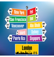 London signpost with cities and distances vector image vector image