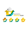 Set of abstract geometric company logo home house vector image