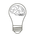 brain idea bulb concept outline vector image