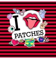 I love patches Poster banner with Patch Badges vector image