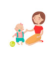 mom playing ball with her little baby son cartoon vector image
