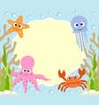 sea animals cartoon background card vector image