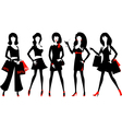 Silhouette of a fashion women vector image