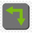 Bifurcation Arrow Left Down Rounded Square Button vector image