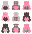 Cute abstract Teddy retro set - brown and pink vector image