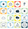 set of 16 ecology icons includes cactus forest vector image