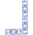 corner border floral swirls and flowers gzhel vector image