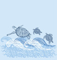 turtle print turtle print blue white sun sea vector image