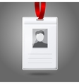 Blank vertical badge holder with place for photo vector image