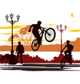 jump rider silhouettes vector image