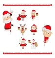 Santa Claus reindeer snowman Christmas characters vector image