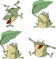 set of cute cartoon green frogs vector image