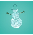 Snowmen with abstract doodle pattern Christmas vector image